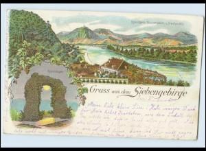 Y505/ Gruß aus dem Siebengebirge Rolandseck Remagen Litho AK 1900