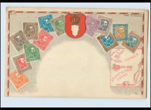 N1258/ Island Briefmarken Litho Prägedruck AK ca.1912