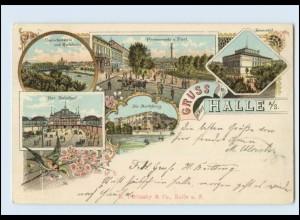 N1273-060./ Gruß aus Halle an der Saale Bahnhof Post Universität Litho AK 1898