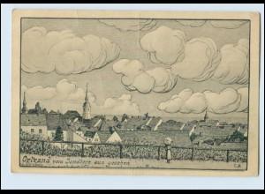 N1433-019./ Ortrand vom Sandberg aus gesehen Künstler AK 1945