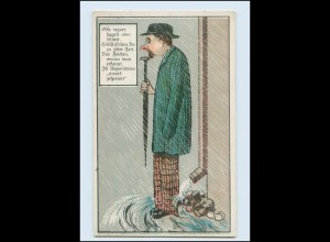 Y475/ Mann steht im Regen Humor Litho AK ca.1912