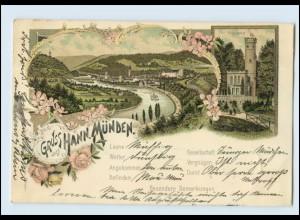 N1426-3510/ Gruß aus Hann. Münden Panorama Tillyschanze Litho AK 1897