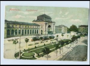 Y499/ Mannheim Hauptbahnhof Straßenbahn AK 1908