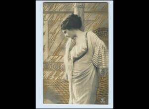 Y550/ Junge Frau Foto AK Golddruck 1913 Jugendstil