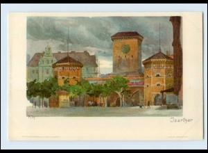 N1747/ Kley Künstler Litho AK München Isarthor ca.1900