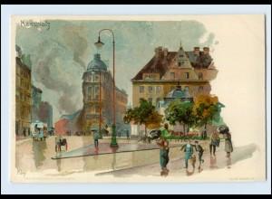 N1748/ Kley Künstler Litho AK München Karlsplatz ca.1900