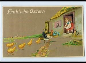 N1771/ Ostern Hühner Küken schöne Litho Prägedruck AK ca.1910