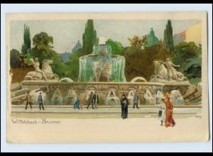 N1749/ Kley Künstler Litho AK München Wittelsbach-Brunnen 1907