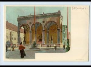 N1563/ Kley Künstler Litho AK München Feldherrnhalle ca.1900