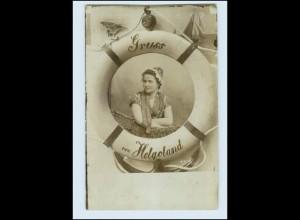 N1615/ Gruß aus Helgoland Foto Fotomontage AK ca.1905 Rettungsring