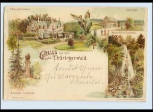 N2502-998/ Gruß aus dem Thüringerwald Litho AK Schmücke, Ilmenau 1900