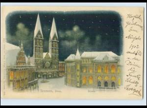 N2076/ Bremen Börse Wintermotiv AK 1902