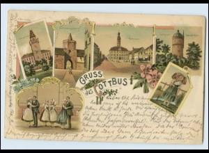 N2511-030./ Gruß aus Cottbus Litho AK 1904