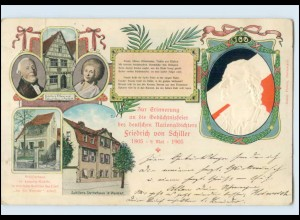 Y676/ Gedächtnisfeier Friedrich von Schiller 1905 Präge AK Marbach, Weimar