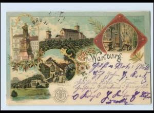 N2170-998./ Eisenach Gruß von der Wartburg Luther-Stübchen Villa Litho AK 1901