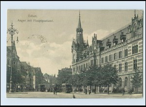 N2178-990./ Erfurt Anger mit Hauptpostamt Postamt Post Straßenbahn AK 1921