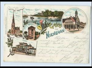 N3076-3070/ Gruß aus Nienburg an der Weser Bahnhof Kirche Rathaus Litho AK 1897