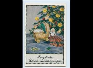 Y1160/ Weihnachten Künstler AK Puppe Puppenwagen E. Dutschmann ca.1920