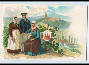 N3374/ Bayerische Volkstrachten tolle Litho AK Rheinpfalz, Steinfeld ca.1900