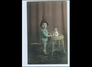 N3442/ Kleiner Junge mit Puppe Foto AK ca.1920