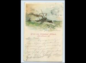 Y1159/ Torpedoboote Litho AK Ostseebad Ahlbeck 1898