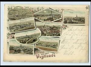 N3633-086./ Gruß aus dem Vogtlande Litho AK Adorf, Oelsnitz, Treuen 1898