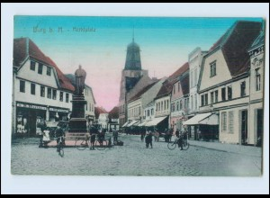 N3594-392./ Burg bei Magdeburg Marktplatz AK 1926