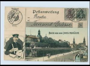 N4189/ Dresden schöne AK Postanweisung, Briefträger 1906