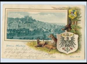 N4411-3550/ Gruß aus Marburg Hund Jagd Panorama Tiere Wappen Präge Litho AK 1901