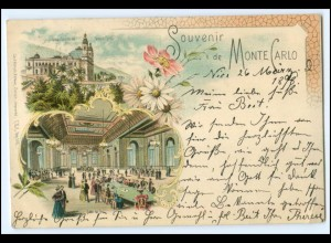 N3848/ Monte Carlo Monaco schöne Litho AK 1898