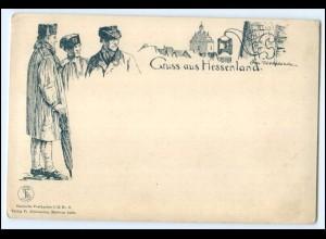 N4196/ Gruß aus Hessenland Otto Ubbelohde Trachten AK Verlag: Sömmering ca.1900
