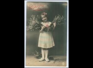 N4262/ Fröhliche Ostern Kind Mädchen Zweige Foto AK 1911