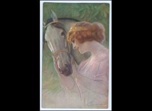 Y1047/ Junge Frau mit Pferd schöne Künstler AK 1914