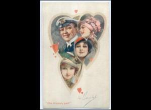 Y1045/ One in every port! Herzen Frauen Kapitän Künstler AK ca.1910