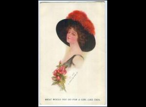 Y1068/ Frau mit Hut J. Knowles Hare jr. Künstler AK ca.1912