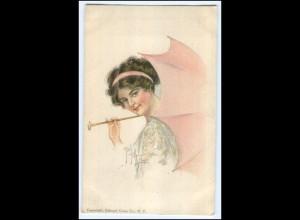 Y1067/ American Girl No. 29 Künstler AK Munyon, Frau mit Schirm 1914