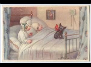 N4126/ Colombo Künstler AK Kinder im Bett mit Hund ca.1930 Italien
