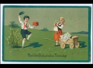 N4255/ Herzlichen Glückwunsch zum Namenstag Blumen Kinder Trachten Litho AK 1926