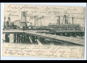 N3789/ Gruß aus Bremerhaven Partie am Kaiserhafen Dampfer Schiff AK ca.1900
