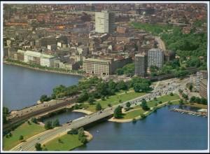 C3567/ Hamburg Kennedybrücke, Lombardsbrücke Luftaufnahme 1966 24 x 18 cm