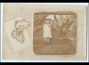 Y1602/ Mädchen Schmetterling Foto AK Fotomontage ca.1912