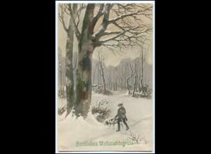 Y1722/ Herzliche Weihnachtsgrüße Jäger mit Hund 1916 AK
