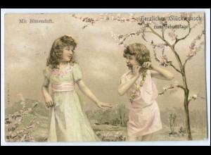 Y1716/ Glückwunsch zum Geburtstag Mädchen mit Flöte 1907 Litho AK