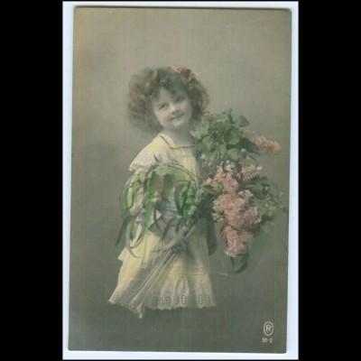 Y1700/ Kinder Mädchen mit Blumen 1913 Foto AK
