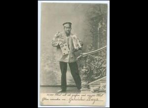 N5417/ Briefträger Postbote mit Glücksschwein und Geld AK 1902