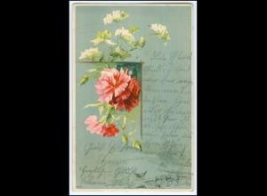Y1799/ Blumen Litho AK Kaffee Hausfrauenstolz Fächer-Marke Reklame 1906