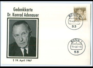 Y1812/ Konrad Adenauer 1967 Gedenkkarte AK