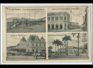 N5503/ Santos Estacio se Estr. de Ferro Brasilien Brazil AK ca.1912