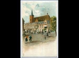 N5517-163./ Gruß aus Bernau Marktplatz Litho AK ca.1900