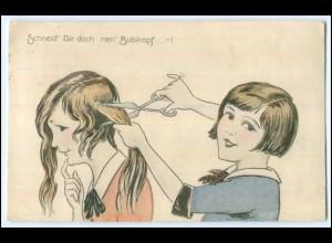 Y1908/ Kinder schneiden Haare Friseur AK 1930